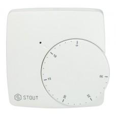 STE-0002-000003 STOUT Проводной электронный термостат WFHT-BASIC со светодиодом (норм.откр.)