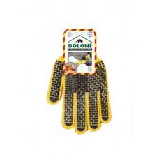 Перчатки DOLONI трикотаж, особопрочные с ПВХ рисунком
