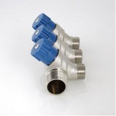Коллектор 3/4 3 выхода с регулировочными вентилями 1/2 ш Valtec (VTc.560 №0503)