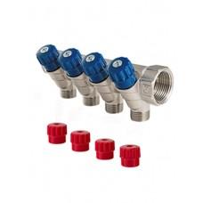 Коллектор 3/4 4 выхода с регулировочными вентилями 1/2 ш Valtec (VTc.560 №0504)